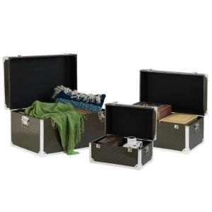 Faux Leather Storage Trunk (Set of 3)
