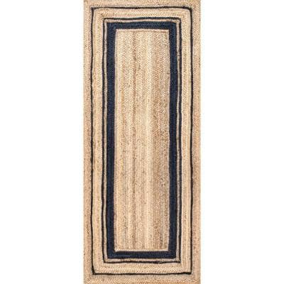 Rikki Braided Border Jute Navy 3 ft. x 10 ft. Indoor Runner Rug
