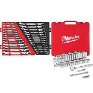 3/8 in. Drive SAE/Metric Ratchet and Socket Mechanics Tool Set with SAE/Metric Flex-Head Combination Wrenches (86-Piece)