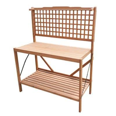 Natural Wood Folding Potting Bench