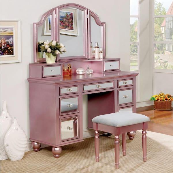 Furniture Of America Serena 2 Piece, Rose Gold Mirrored Furniture