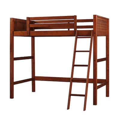 Lynn Walnut Brown Wood Twin Loft Bed