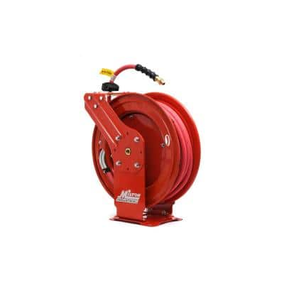 3/8 in. MNPT x 50 ft. Hybrid Rubber Hose - 300 Max PSI, Auto- Retractable Air Hose Reel Steel Dual Arm