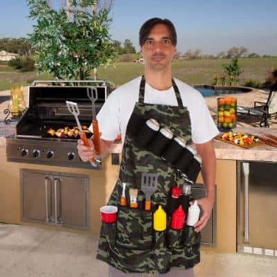 Grill Master Grill Apron Holds Beverages and Tools in Camouflage