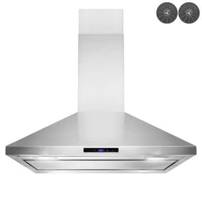 36 in. Convertible Island Mount Kitchen Range Hood in Stainless Steel with LED Lights, Touch Control and Carbon Filters