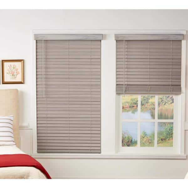 Perfect Lift Window Treatment Room Darkening Driftwood Gray 2 In Cordless Faux Wood Blind 32 25 In W X 64 In L Actual Size 32 25 In W X 64 In L Qjdg322640 The Home Depot