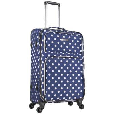 Albany Park 24 in. Lightweight Navy/White Polka Dot Printed Expandable 4-Wheel Checked Luggage