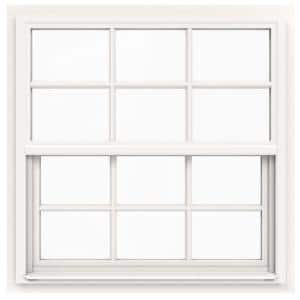 36 in. x 36 in. V-4500 Series White Single-Hung Vinyl Window with 6-Lite Colonial Grids/Grilles