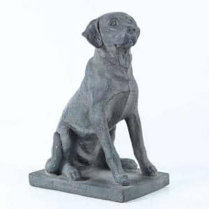 16.9 in. H Dark Gray Labrador Retreiver Dog on Rectangular Base Garden Statue