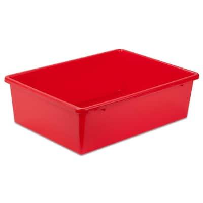 16 in. D x 5 in. H x 12 in. W Red Plastic Cube Storage Bin