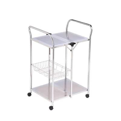 2-Tier Chrome Foldable Kitchen Cart with Basket Shelf