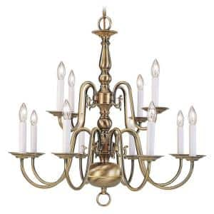 Williamsburgh 12 Light Antique Brass Chandelier