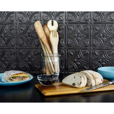 18.5'' x 24.3'' Empire Decorative 3D PVC Backsplash Panels in Smoked Pewter 9-Pieces
