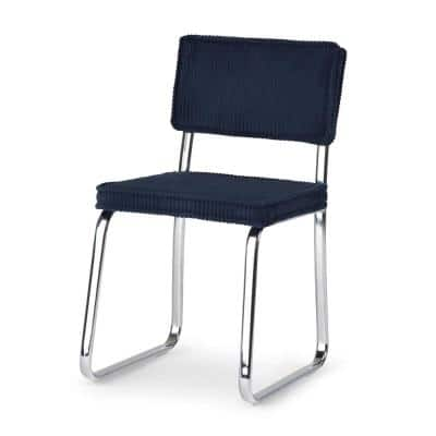 Jenkins Navy Blue Corduroy Modern Dining Chair
