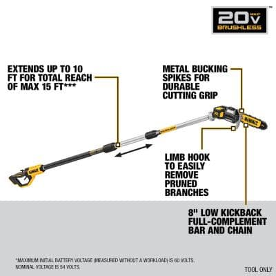 8 in. 20V MAX Cordless Pole Saw (Tool Only)