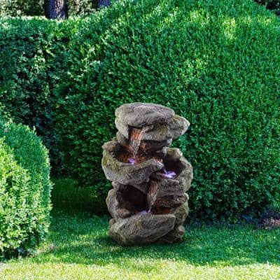 22 in. Tall Outdoor 3-Tier Rock Waterfall Fountain with LED Lights