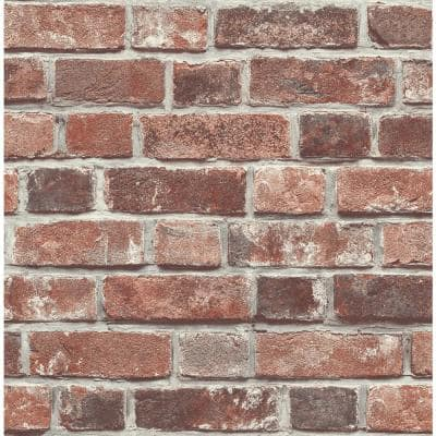 Distressed Brick Red Brick Vinyl Peel & Stick Wallpaper Roll (Covers 30.75 Sq. Ft.)