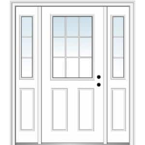 68.5 in. x 81.75 in. Internal Grilles Left-Hand Inswing 1/2-Lite Clear Primed Steel Prehung Front Door with Sidelites