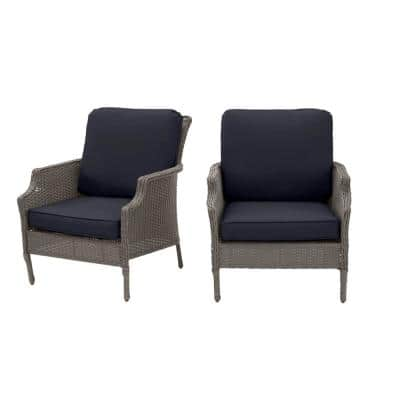 Grayson Ash Gray Wicker Outdoor Patio Lounge with CushionGuard Midnight Navy Blue Cushions (2-Pack)