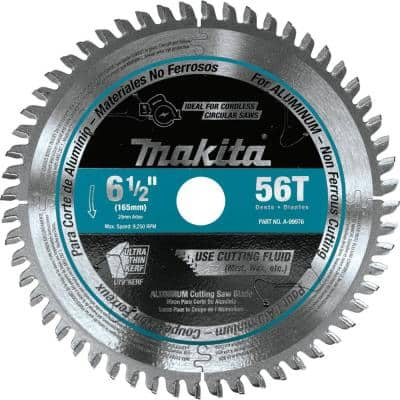 6-1/2 in. 56T Carbide Tipped Cordless Plunge Saw Blade, Aluminum