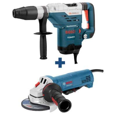 13 Amp 1-5/8 in. Corded SDS-Max Concrete/Masonry Rotary Hammer Drill with Bonus 10 Amp Corded 4-1/2 in. Angle Grinder