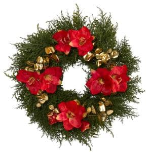 24 in. Cedar Amaryllis and Metallic Eucalyptus Artificial Wreath