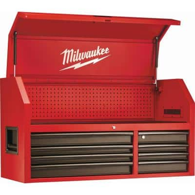 46 in. 8-Drawer Steel Storage Top Chest in Red and Black