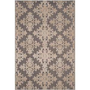 Cottage Taupe 8 ft. x 11 ft. Floral Indoor/Outdoor Area Rug