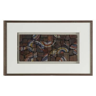 Natural Wood with Multi-Colored Dotted Designs Shadow Box, 36 in. x 24 in.