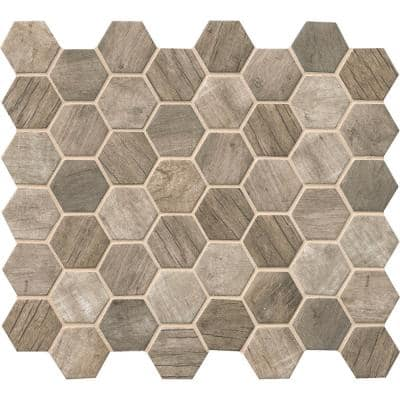 Driftwood Hexagon 11.02 in. x 12.76 in. x 6 mm Matte Recycled Glass Mesh-Mounted Mosaic Tile (0.98 sq. ft.)