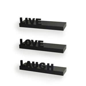 15 in. x 3.25 in. Black Decorative ''Live'' ''Love'' ''Laugh'' Floating Wall Shelves (Set of 3)