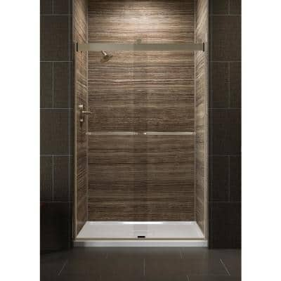 Levity 48 in. x 74 in. Semi-Frameless Sliding Shower Door in Bronze with Crystal Clear Glass and Handle