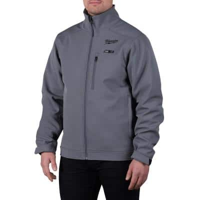 Men's Large M12 12V Lithium-Ion Cordless TOUGHSHELL Gray Heated Jacket Kit with (1) 3.0 Ah Battery and Charger