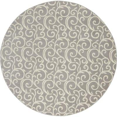 Grafix Grey Abstract Botanical Vines 8 ft. x 8 ft. Round Area Rug