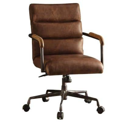 Retro Brown Metal and Top Grain Leather Executive Office Chair