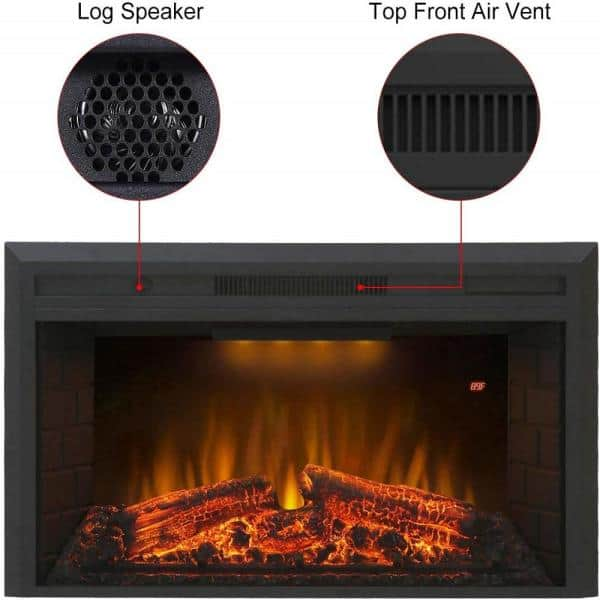 Glitzhome 35 6 In Electric Fireplace Insert In Black Ef33w The Home Depot