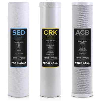Whole House Heavy Metals Well Water Filter Replacement Set - 3 Stage Sediment KDF/Blend Carbon Block 20 in. 5 Microns