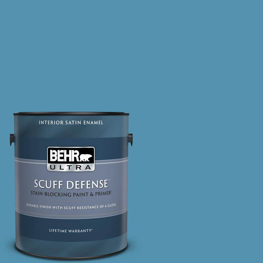 Behr Ultra 1 Gal M490 5 Jet Ski Extra Durable Satin Enamel Interior Paint Primer 775401 The Home Depot