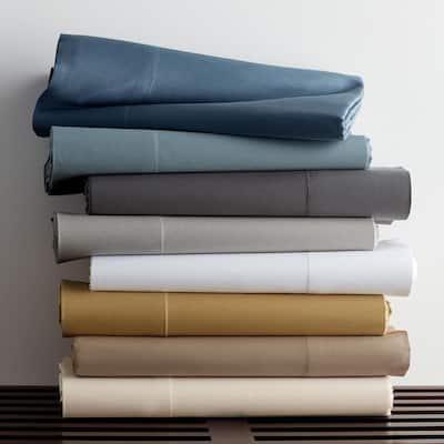 Legends Luxury Solid Mirage Blue Cotton Sateen Oversized Queen Duvet Cover