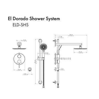 El Dorado 2-Spray Patterns with 2.0 GPM 7.9 in. Wall Mount Dual Shower Heads Shower System in Brushed Nickel