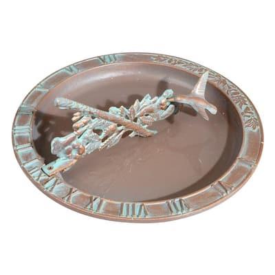 Copper Verdigris Hummingbird Birdbath Sundial