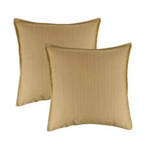 Sunbrella Dupione Cornsilk Solid 20 in. x 20 in. Throw Pillow (Set of 2)