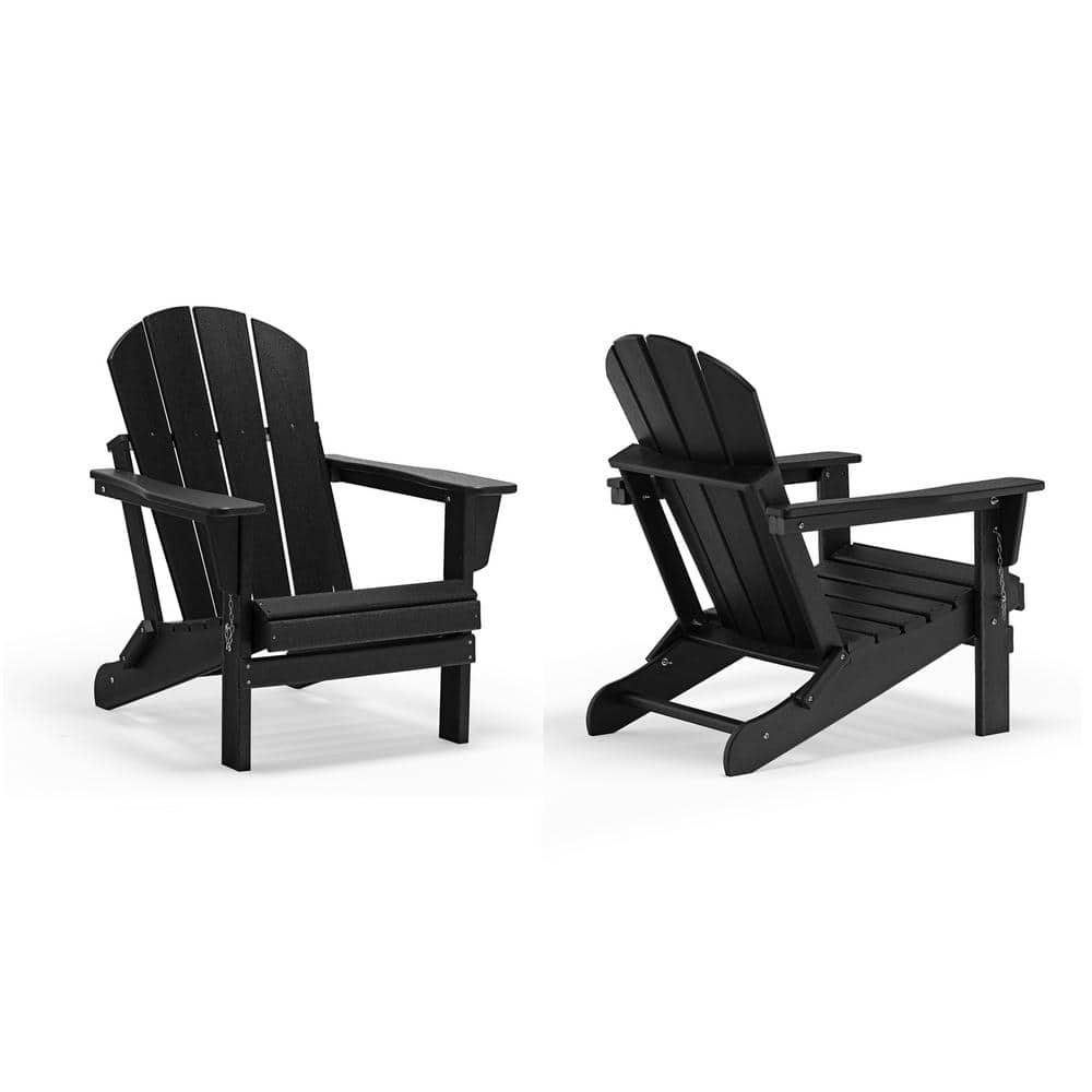 Addison Black Outdoor Folding Plastic Adirondack Chair Set Of 2 2001010 2 The Home Depot