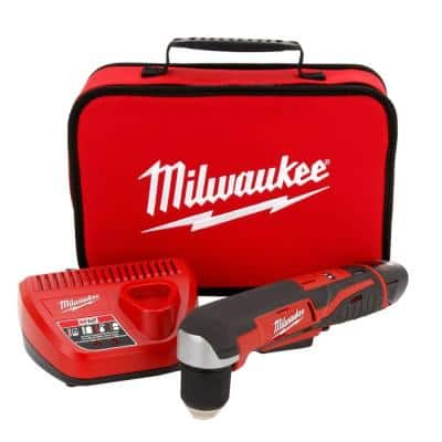 M12 12-Volt Lithium-Ion Cordless 3/8 in. Right-Angle Drill W/(1) 1.5Ah Battery, Charger & Tool Bag