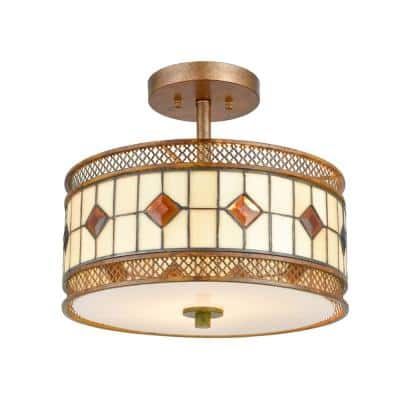 Minerals 13 in. Rustic Bronze Flush Mount/Semi Flush Mount with Hand Rolled Art Glass and Metal Shade