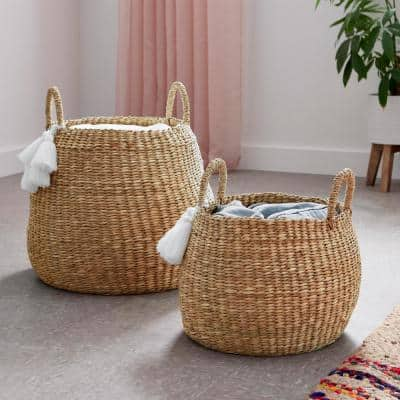 Round Natural Water Hyacinth Decorative Baskets with White Tassels (Set of 2)