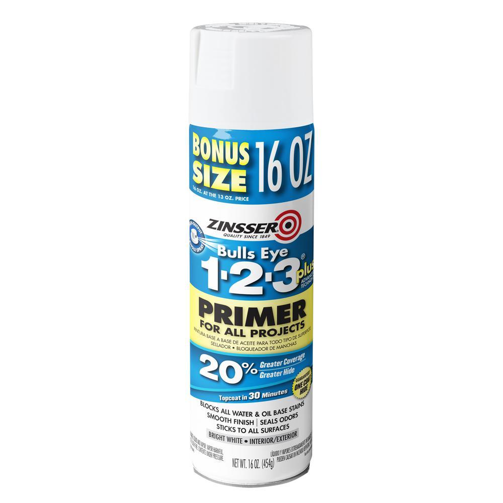 Bulls Eye 1-2-3 Plus 16 oz. White Interior/Exterior Primer Spray (6-Pack)