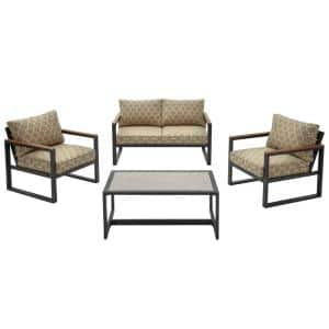 West Park 4-Piece Black Aluminum Outdoor Patio Conversation Set with CushionGuard Toffee Trellis Tan Cushions