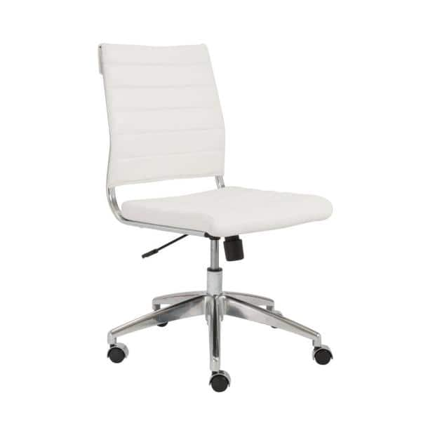 Eurostyle Axel White Armless Low Back, Armless Office Chair