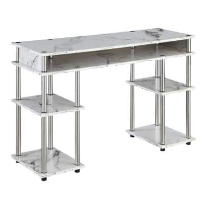 Designs2Go 47.25 in. W White Marble No Tools Student Desk